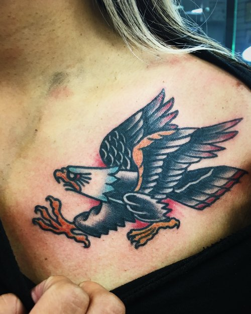 Traditional eagle tattoo by German