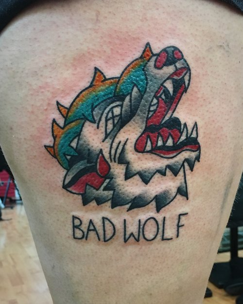 Traditional wolf tattoo by German