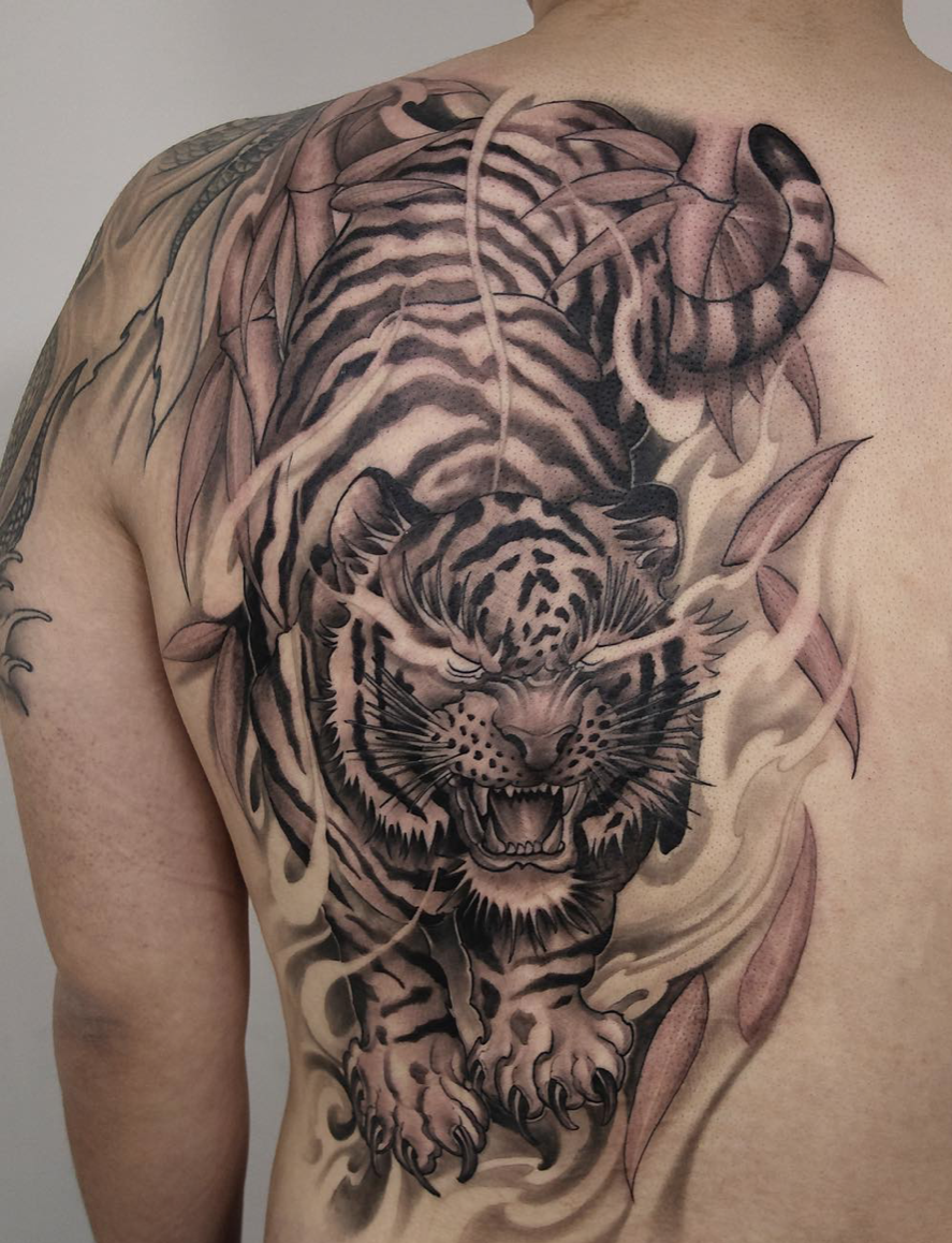 Asian style tiger tattoo by Shark