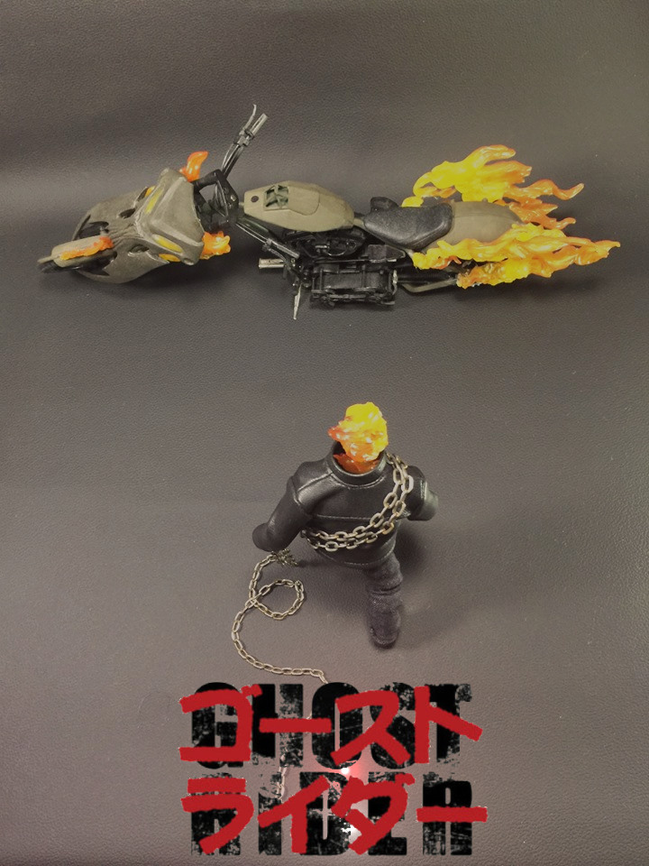 """""""Kaneda, The Spirit of Vengeance"""" - Well, I build this custom figure and bike from scratch, tried to gather everything together and build up the ghost rider I always wanted to have. So when i finally did i was like :"""