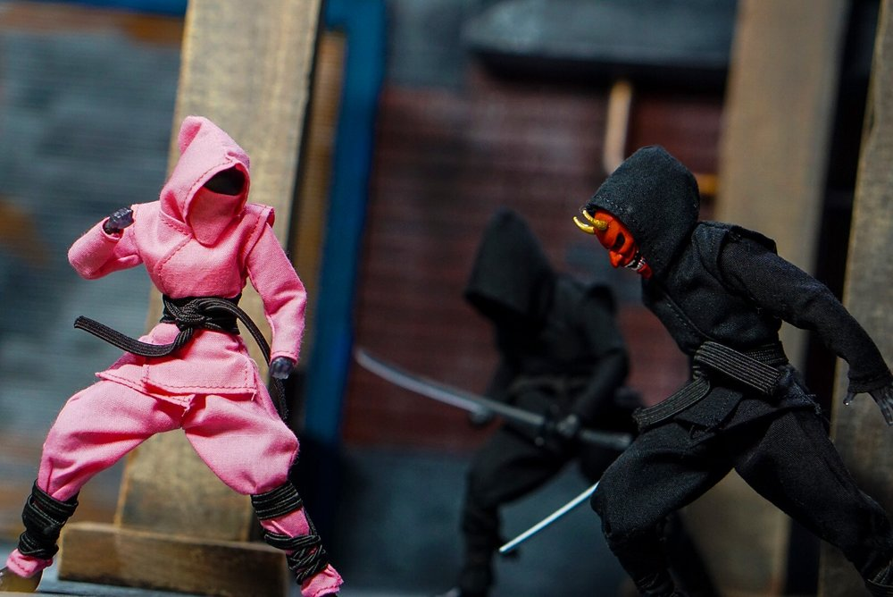 """""""The Kunoichi vs The Oni"""" - The picture is entitled """"The Kunoichi vs The Oni"""". The Kunoichi (Japanese for female ninja) fights her opponent a ninja wearing an Oni (demon) mask. I chose this picture because the pink ninja pops out in any picture. A pink ninja is what your eyes first focuses on when looking at the picture. The picture also tells the person viewing it, that the main character is a female who not only has the odds against her but takes the fight head on. You don't see many ninjas out in the toy market, so to be able to customize your own ninja with a variety of colors definitely enhances your toy photography.Photographer: @alohaamigo1"""
