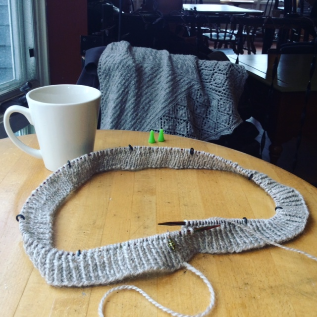 The beginnings of a new cowl design (with my  Peppernut Shawl  in the background)