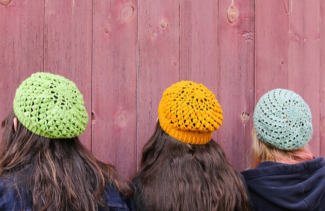 The GAL definitely includes more knitting than crochet patterns, but crocheters are by no means left out. Crochet queen Sara Delaney's slouchy Sweet Clementine beret features spiraling bobbles and crisp ribbing on the brim. It's a great stash-busting project because you can make it in fingering, sport, or DK weight yarn.
