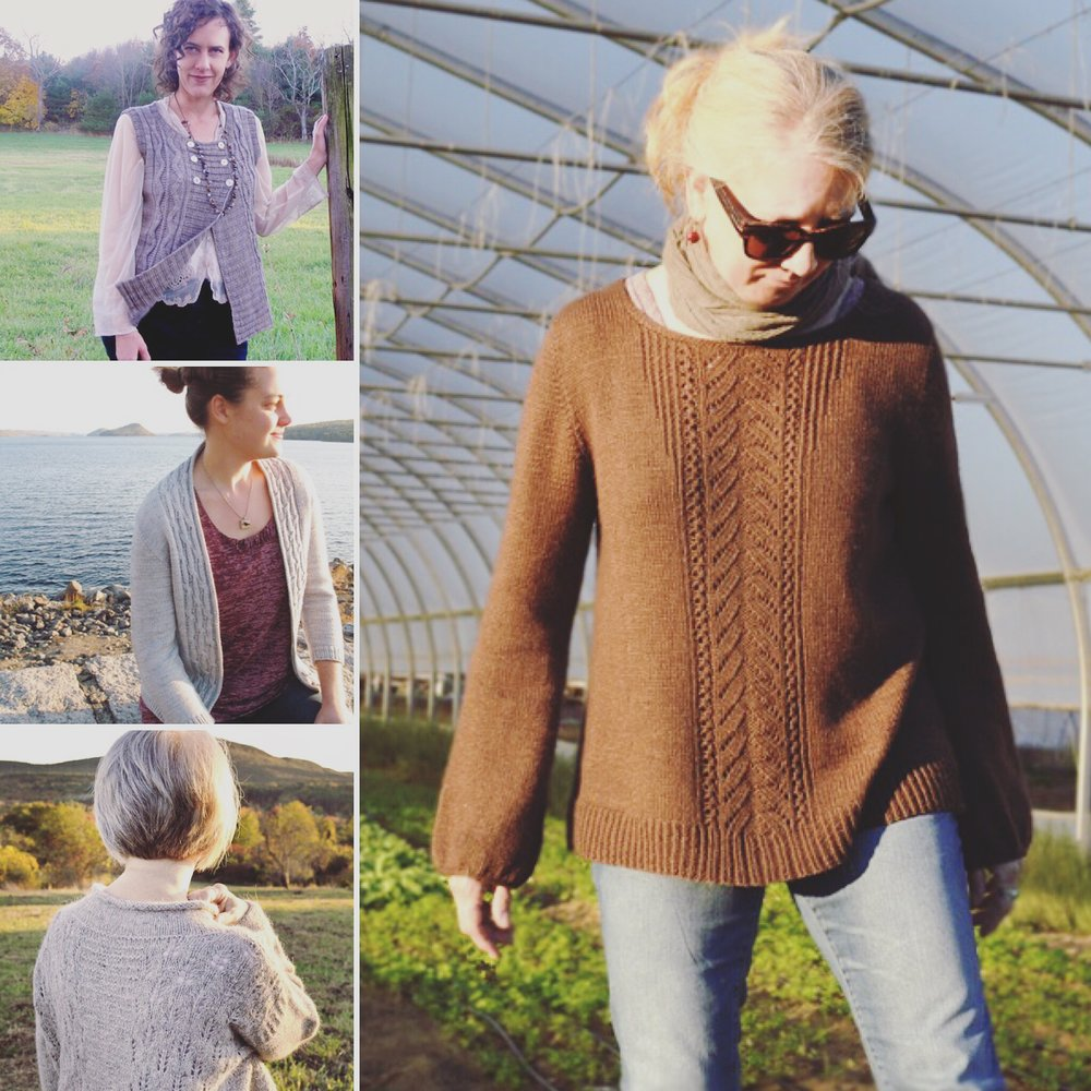 Clockwise from upper left:  Wichita Vest ,  Meadow Road Pullover,   Mount Pollux Pullover,   Goodnough Cardigan