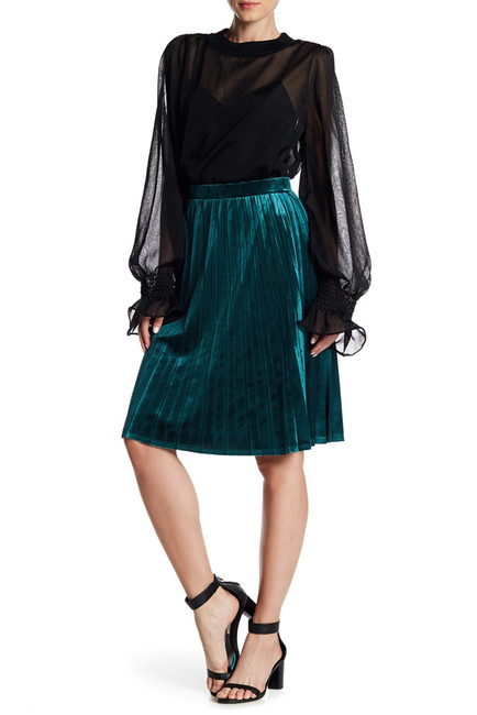 abound pleated velour skirt green jasper.jpg