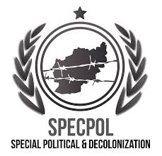 SPECPOL - The Special Political and Decolonization Committee deals with a variety of subjects which include those related to decolonization, Palestinian refugees and human rights, peacekeeping, mine action, outer space, public information, atomic radiation and University for Peace.