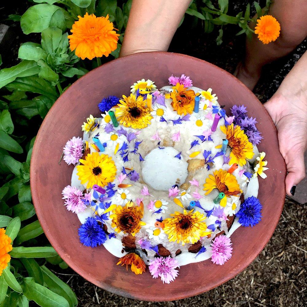 Rose + Almond  Flower Cake -