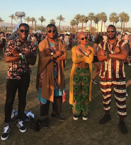 1. Black Panther Inspired - There's a few reasons we love these outfits. They're relevant, they're cool, and this group wore it best. We we're walking behind them at the festival and had to stop them for this photo. 🙌
