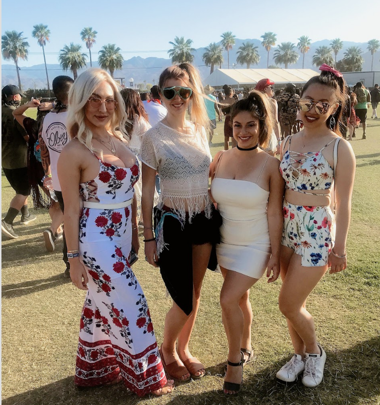 2. Florals & Ivory - You can't go wrong with a floral dress or an ivory top at Coachella. The heat can be brutal so these prints are sure to keep you cool.Find your ivory sheer top at Gingerly Witty, white dress at 12th Tribe, or floral jumpsuit and floral dress from Brigitte & Stone 🌸🌼