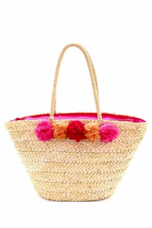 Pom Pom Straw Bag - $62