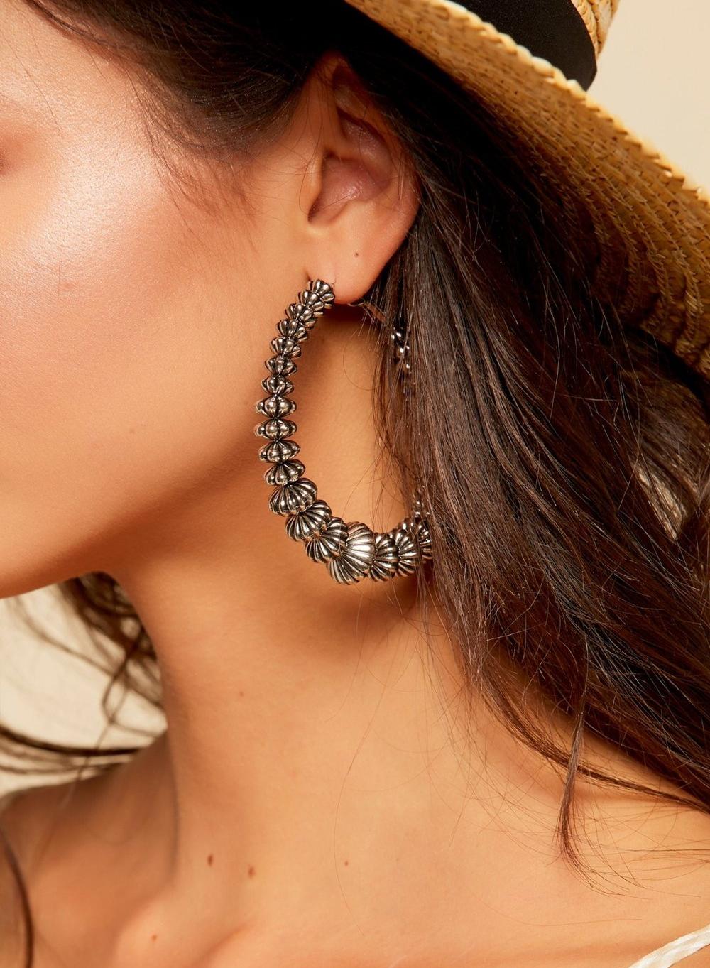 Silver Hoop Earrings - $38