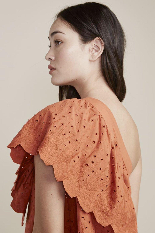 Lily Blouse one shoulder orange