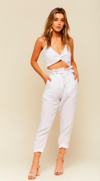 South of France White Buckle Pant from 12th Tribe