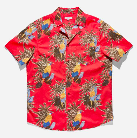 Macaw Woven Shirt in Coral Red from Banks Journal