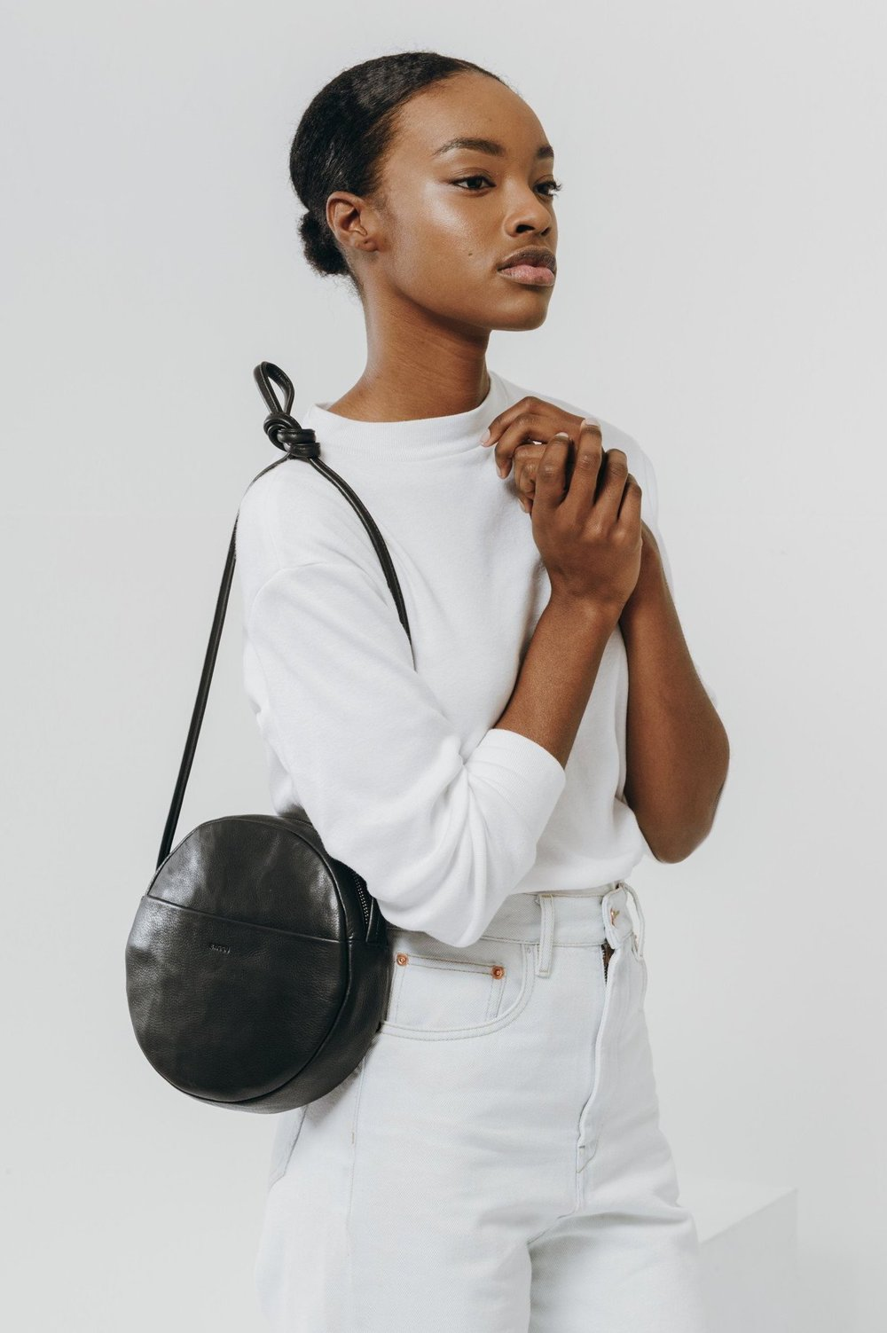 Baggu Leather Circle Purse in Black from Whimsy and Row