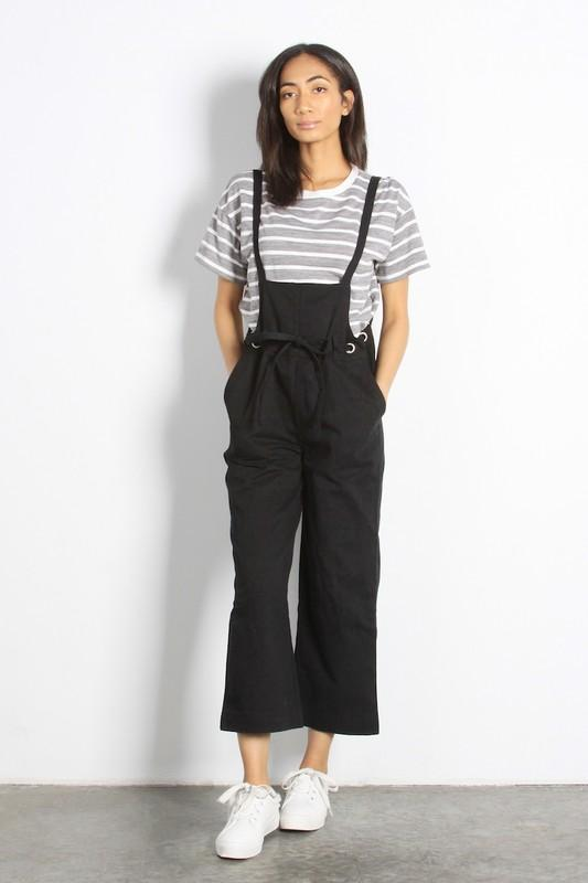 Lockhart Wide Leg Denim Overalls in Black from Gingerly Witty