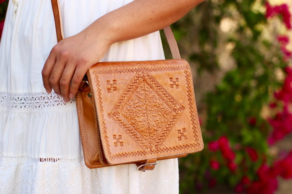 Casablanca Square Leather Purse in Light Leather from Gingerly Witty