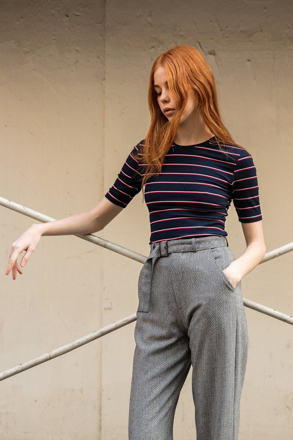 Shades of Grey - FITTED TEE - PARISIAN STRIPE