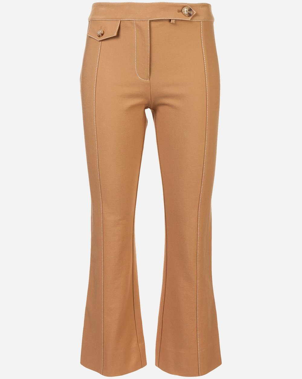 Cropped Flare Trouser with Tab Detail - Camel