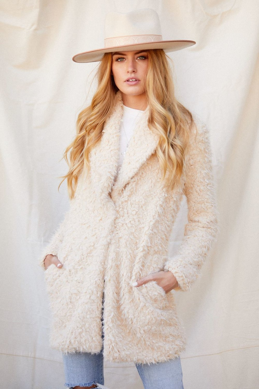 Kia Faux Fur Beige Coat