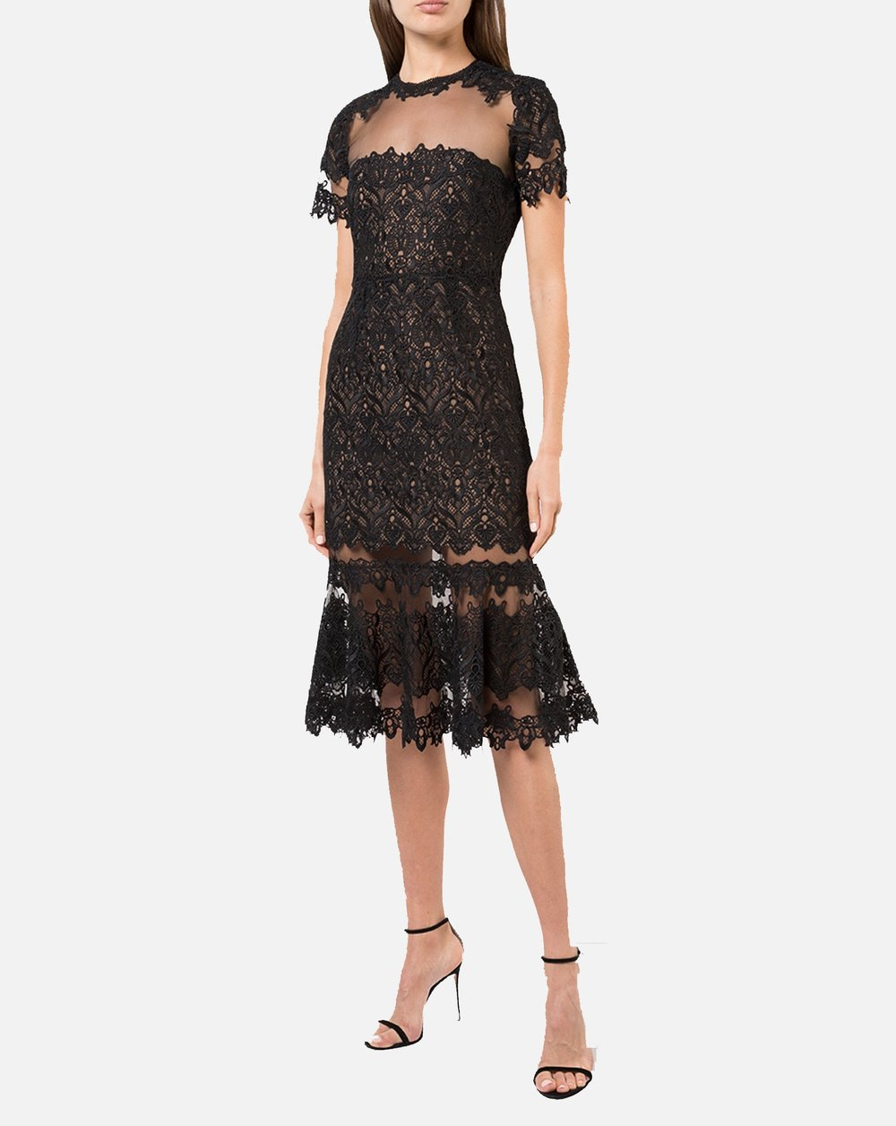 Guipure Lace Sheer Ruffle Dress in Black -Reservoir LA - Dress it up with this classy lace sheer ruffle dress. For going to a nice dinner or out dancing, this dress is sure to make you look and feel your best any night out.