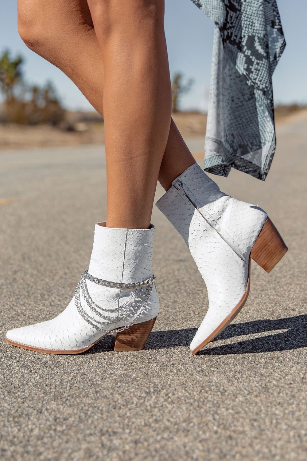 $198 White Python Matisse Caty Bootie Exclusive - Get the All About the Noise Silver Boot Chain with these booties to complete the look.