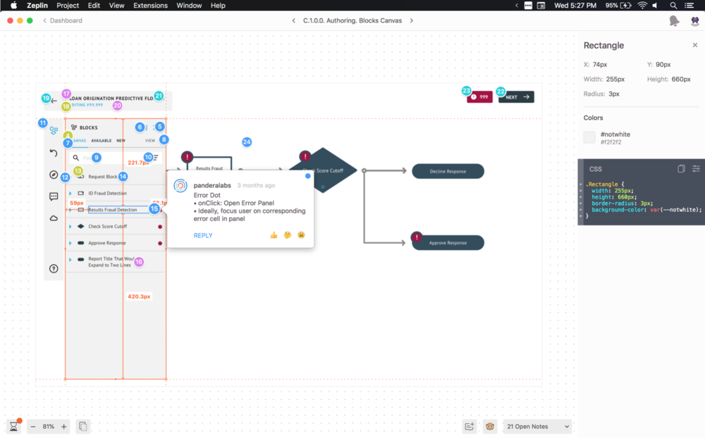 UX Annotations via Zeplin.  I use a combination of annotation tools, process transparency, and QA sessions to prep designs for launch throughout the production process. Tradeoffs are inevitable, but compromise & collaboration are key.   View the in-depth case study here ⇢