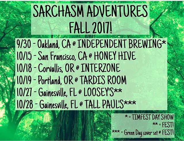 Sarchasm is gearing up and playing shows as they journey to Gainesville for FEST! Be sure to check them out along the way.