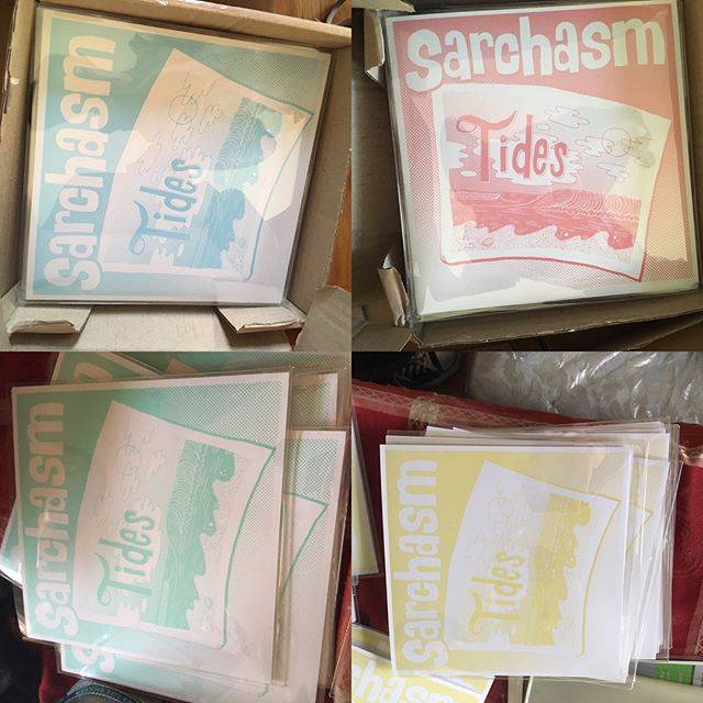 """THEY'RE HERE!! We are so happy to announce the arrival of @sarchasmband 's first ever vinyl release """"Tides"""". The 7"""" will be officially released physically and digitally JULY 28th (different colors! pink, green, blue, yellow!). Record release show at @924gilmanstreet on JULY 15th to celebrate!"""