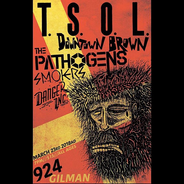 "Come out to #924gilmanstreet on 3/23 for a killer record release show for @thepathogens debut 7"" EP on 1986d Music Industries! We'll also have free 11x17 prints of this poster at the show!! #1986d #tsol #gilmanstreet #thepathogens #smokers #downtownbrown #dangerinc poster design by @craigfuyong"