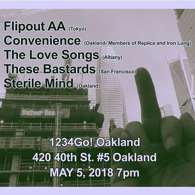 Come out and support Filpout AA (Japan) and locals tonight in Oakland!! Starts at 7pm sharp!! #flipoutaa #thelovesongs #1234gorecords #japanesepunk