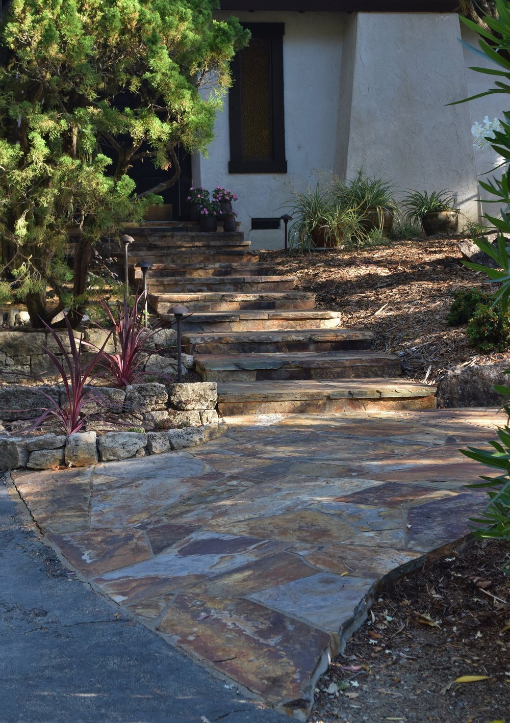 Flagstone Entry Staircase   The Montana Flagstone Stairs And Landings Lead  To The Front Entry And