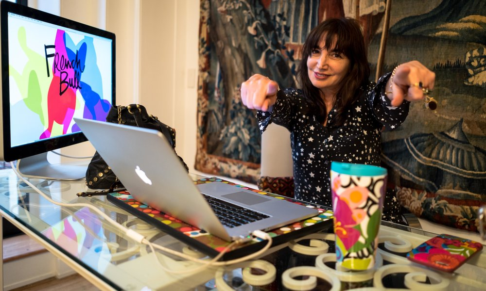 Jackie at work in her colourful office