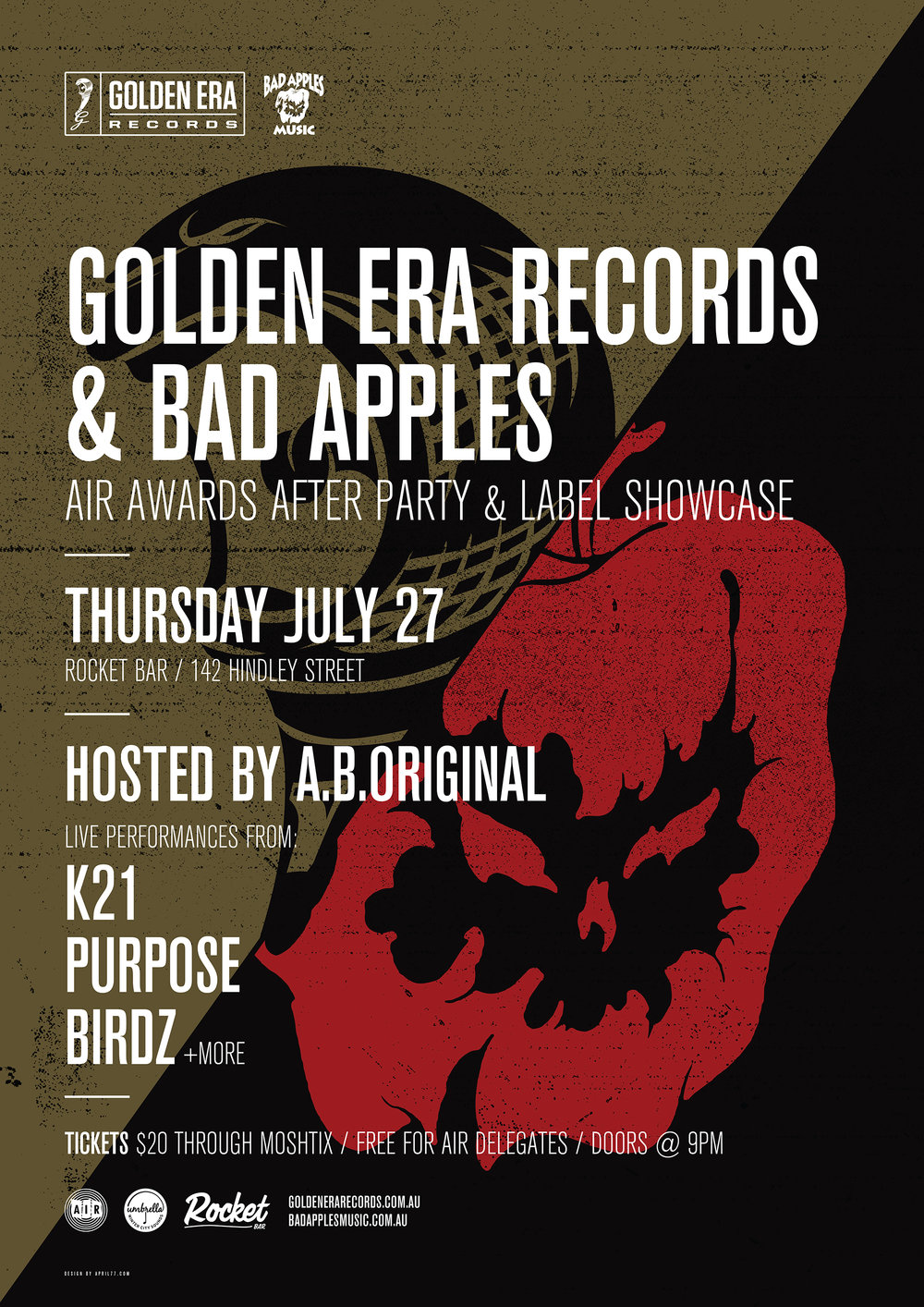 GE039 - AIR Awards After Party Golden Era x Bad Apples Showcase A2 Poster.jpg