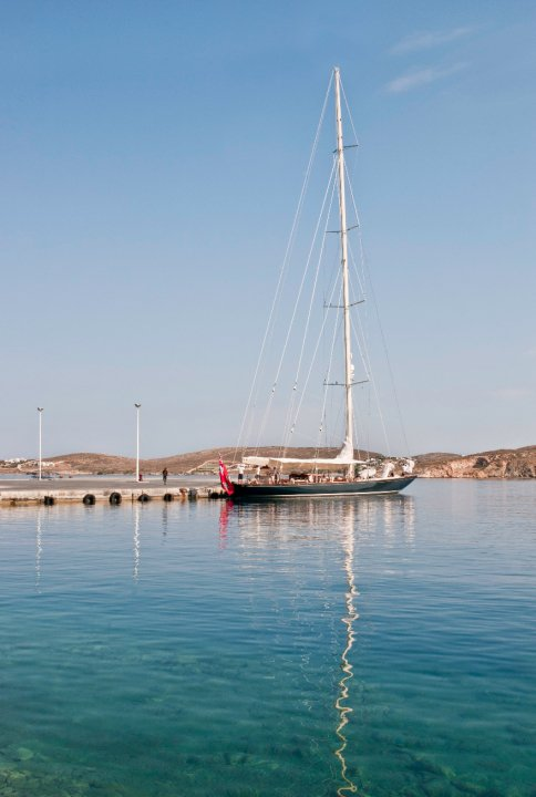 A sailboat docked on Paros.