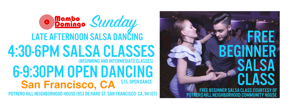 Mambo Domingo forms because of the insatiable need to fulfill our salsa/mambo/bachata needs each 1st Sunday in SF. Come and party with us! :)   Age Requirement: None noted    Pricing: $15    Located at:   Potrero Hill Neighborhood House  953 De Haro St, San Francisco, CA 94107