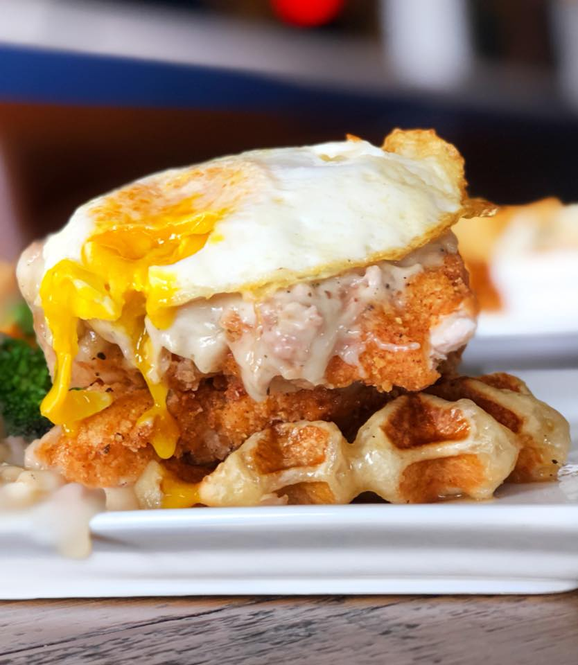 Chicken Schnitzel & Waffles // Photo by Blonde Cravings