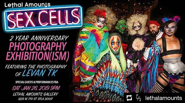 Excited to announce that I will be doing another gallery exhibition at Lethal Amounts gallery on the 26th of this month. This time around is quite different from my previous show and focus on the amazing people and performances I've captured over the last 2 years at the Sex Cells club. Hope to see you all there!  #Repost @lethalamounts • • • Lethal Amounts is proud to be celebrating the 2 year anniversary of @sexcells_party, the party where legends are created. As part of our celebration we will be bringing Sex Cells into a gallery setting for this month. Decorating our walls with none other than YOU.  Relive the last 2 years with us through the amazing photography of @levan_tk as hes captured the debauchery of every event, amazing look, and live performance since day one.  Come see yourself as the work of art you are hanging in a gallery. Hundreds of photographs will be on display and available to take home.  Special guests and performances TBA.  DJs  @djmatthewpernicano  @dannylethal138  and ***SURPRISE GUEST*** Saturday Jan 26th  starts at 9pm  No Cover ALL AGES  Lethal Amounts gallery  1226 West 7th st. 90017 . . . . #sexcells #gallery #openingreception #photogallery #galleryopening