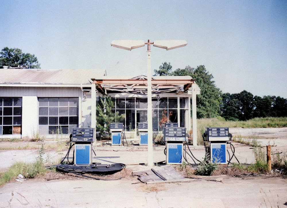 Reclaimed Fuji Negative of Clinton gas station.