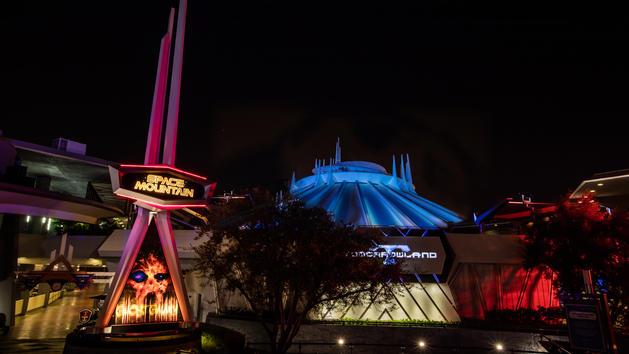 Space Mountain takes on an eerie appearance as one of two rides in Disneyland that gets a Halloween overlay.
