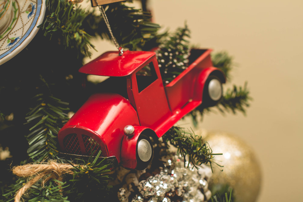 kirklands truck with tree ornament