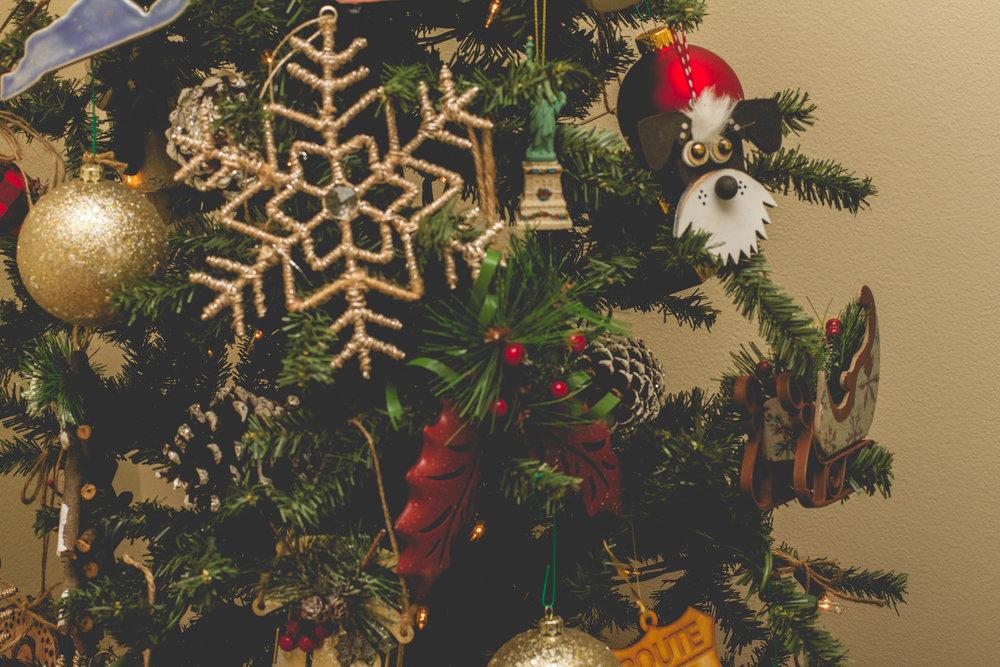 Hobby Lobby Snowflake Ornament, Walmart Red Holly & Sled Ornaments