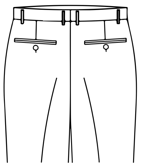 TWO BACK POCKETS WITH BUTTONS
