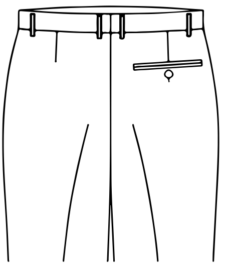 ONE BACK POCKET WITH BUTTONS