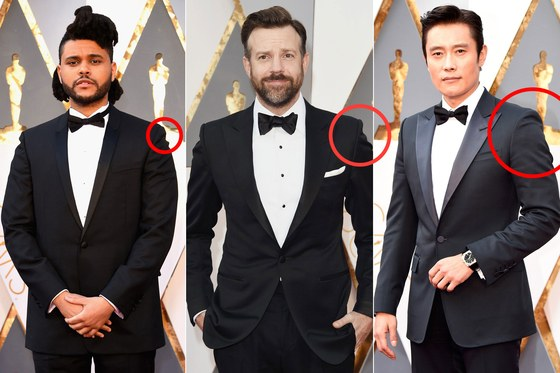 OSCAR WINNERS with  SHOULDER DIVOTS  on their suits. Source taken from  GQ.