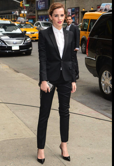 Emma watson spotting a suit with nice white dress shirt.