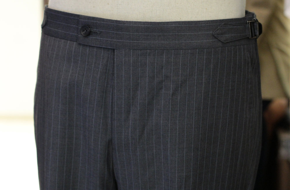 Grey Pinstripes Made to Measure Trousers Made Suits Super 130s Front.JPG