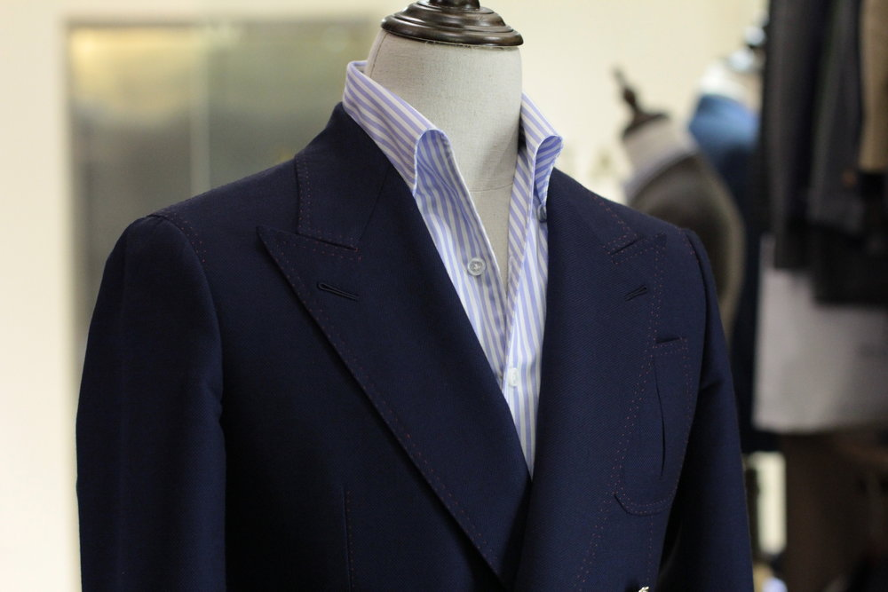 Mr Spidey Double Breasted Gold Buttons Made Suits | Made to Measure Suits |Bespoke Singapore Tailor Peak Lapel.JPG