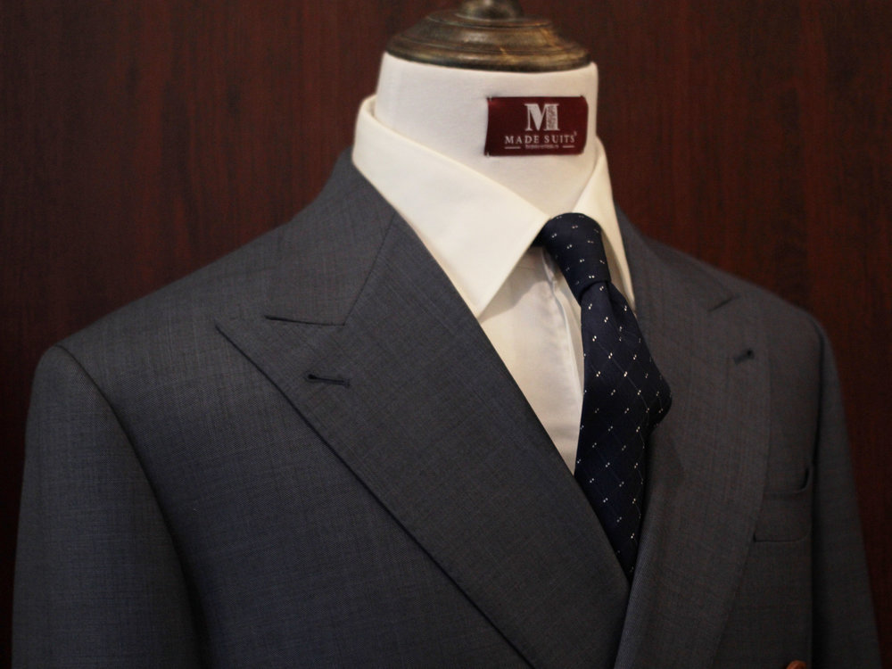 Mr Duke Double Breasted Sharkskin Blue Made Suits Made to Measure Peak Lapel.JPG