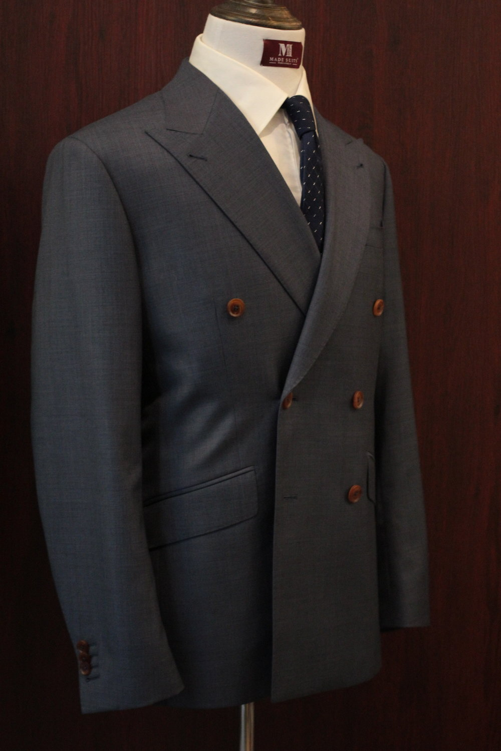 Mr Duke Double Breasted Sharkskin Blue Made Suits Made to Measure.JPG